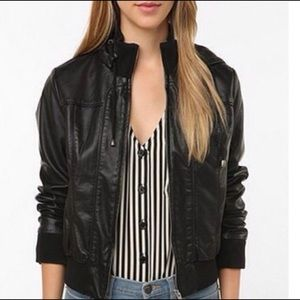 Urban Outfitters Hooded Leather Jacket